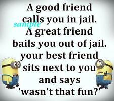 FUNNY MINIONS BEST FRIEND JAIL REFRIGERATOR MAGNET CHRISTMAS GAG GIFT MAN CAVE