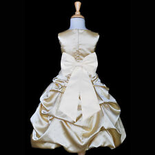 GOLDEN GOLD Flower Girl Dress Birthday Wedding Formal Pageant Bridesmaid PARTY