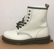 DR. MARTENS 1460 WINTER WHITE SOFTY T   LEATHER  BOOTS SIZE UK 8