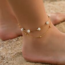 For Women Beach Foot Chain Jewelry Boho Crystal Double Layered Anklet Bracelet