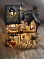 VINTAGE Ceramic Lighted HALLOWEEN HAUNTED HOUSE -Witch, Ghosts Skeletons Lamp