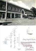 Cartolina di Spoleto, automobili e stazione della ferrovia - Perugia, 1959