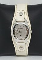 Ladies Fossil F2 Silver Tone White Genuine Leather Band Analog Watch ES-9776 A4
