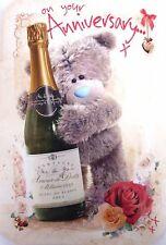 """Abrir tarjeta de aniversario de bodas-Osos champán y Flor Cesta 7.75/"""" X 5.25/"""""""