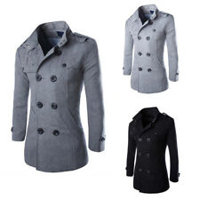 Mens Winter Warm Jacket Trench Long Wool Coats Dress Coat Outwear Overcoat