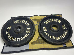 "Lot of 2 WEIDER INTERNATIONAL Black Plates 33 LBS Each Total 66 (15 kg) 30 kg 2"""