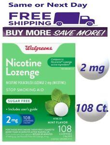 Walgreens Nicotine Lozenge, 2 mg Stop Smoking Aid Mint 108 Ct Compare Nicorette
