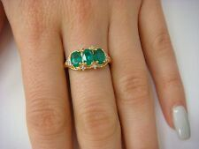EXQUISITE 18K YELLOW GOLD EMERALD AND DIAMONDS LADIES HIGH END RING, SIZE 7
