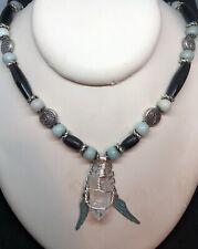 Native American Hairpipe Bone Bead, Amazonite & Quartz Crystal Necklace