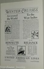 1925 United American Lines advertisement, SS Resolute or Reliance