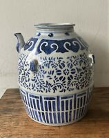 Antique 19th C Chinese Blue White Porcelain Oil Jar - Tea Wine Water Jug Pot
