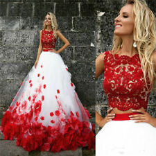 Luxury Red And White Flowers Two Pieces Lace Tulle Wedding Dresses Bridal Gowns