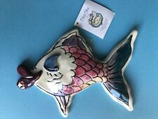 Vtg New Heather Goldminic Blue Sky Kissy Fish #Nc21249 Sm Pink Wall Art
