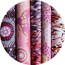 JELLY ROLL - AUSTRALIAN ABORIGINAL ART FABRICS - 25 x STRIPS - PINK EARTH #1
