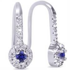 1/3ct Blue Sapphire & Diamond Drop Earrings 10K White Gold