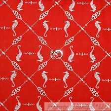 BonEful Fabric FQ Cotton Quilt Red White Nautical Rope Seahorse Ocean Beach Knot
