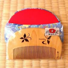 【TSUGE KUSHI】CAMELLIA OIL DYED COMB with CASE, BUTTERFLY, MADE IN JAPAN.