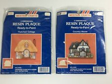 2 Vintage 1987 Ready To Paint Resin House 3 Dimensional Plaque Westrim Craft