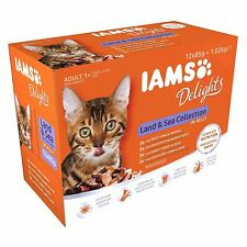 IAMS Delights Wet Food Land And Sea Collection For Adult Cats 12 x 85g Pouches