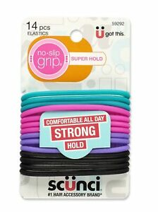 Scunci No-Slip Grip Evolution Jelly Ponytailers, Strong Hold, Assorted Colors...