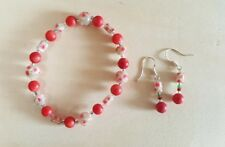 Handmade in US. Red coral, glass beads earrings & bracelet set- FREE SHIPPING!