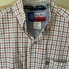 GEORGE STRAIT WRANGLER Men's Red & Beige Plaid Long Sleeve Shirt Size Large