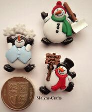 ROLY POLY SNOWMEN Craft Buttons 1ST CLASS POST Winter Snow Man Christmas Novelty