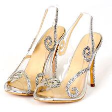 Women Peep Toe High Heel Slingback Pumps Transparent  PVC Summer Sandals Slip On