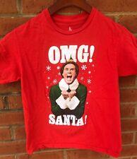 ELF OMG SANTA YOUTH KID GIRLS BOYS RED HOLIDAY CHRISTMAS SHIRT 10 M MEDIUM EUC