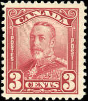 Mint H Canada 1928 3c F  Scott #151 King George V Scroll Stamp