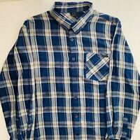 Oakley Mens Long Sleeves Polo Shirt Plaid Blue Large EUC