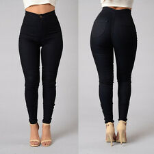 Women's High Waist Denim Pants Skinny Fit Jeans Stretchy Pencil Trousers CN