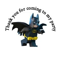 35 x Personalised Lego Batman Themed Stickers 37mm Birthday Party Bag Cone Round