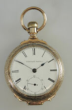 Large Gold Plated Elgin BOX Hinge Pocket Watch c1893
