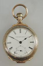GRANDE scatola ELGIN PLACCATO ORO CERNIERA Orologio da taschino c1893