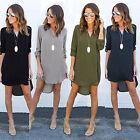 Ladies Chiffon Long Sleeve Loose Casual Blouse Top Shirt Tunic Mini Dress
