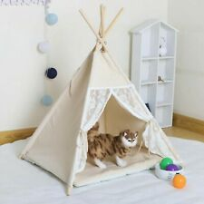Canvas and Pine Foldable Indoor Pet Tent Washable Dog Bed Play House Pet Supplie