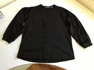 TRENERY Size M PLEAT SHOULDER T-SHIRT BLACK