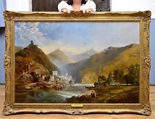 Very Large Fine 19thC Landscape Oil Painting of River Moselle & Medieval Town