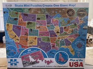 Map Of USA State Mini Puzzles Create Giant Map 850 piece Jigsaw Puzzle NEW! HTF