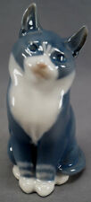 Royal Copenhagen # 1803 Sitting Dark Grey & White Cat Porcelain Figurine C.1980s