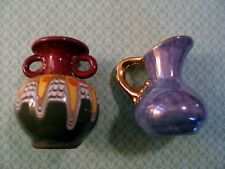 Lot of 2 - Mini Pitcher Holley Rose Opalescent Gold Handle Pottery Op Art Vase