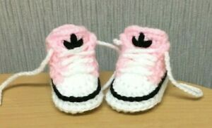 HANDMADE CROCHET BABY FIRST SHOES BOOTS WOOL CASUAL SLIPPERS BOOTIES UNISEX