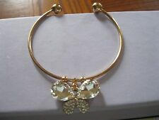 14k Gold Filled Austrian Crystal Amber Sapphire Butterfly Bracelet Bangle