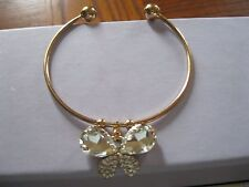 14k Gold Filled Austrian Crystal White Sapphire Butterfly Bracelet Bangle