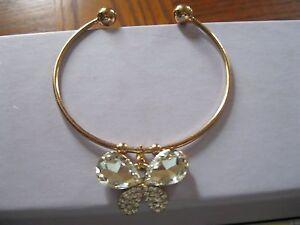 14k Gold Filled Austrian Crystal Amber Sapphire Butterfly Bracelet Bangle