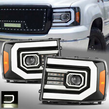 For 2007-2013 GMC Sierra Polished Black LED DRL/Signal Dual Projector Headlights