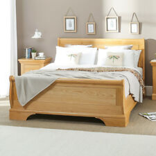 French Classic Oak 6ft Super King Size Sleigh Bed - Solid Bedroom Furniture CF06