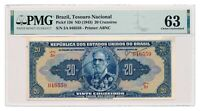 BRAZIL banknote 20 Cruzeiros 1943 PMG MS 63 Choice Uncirculated