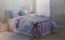 Cannon Kids Full Queen Owls Nature Comforter Sham Bedding Set Pink Blue Stripe